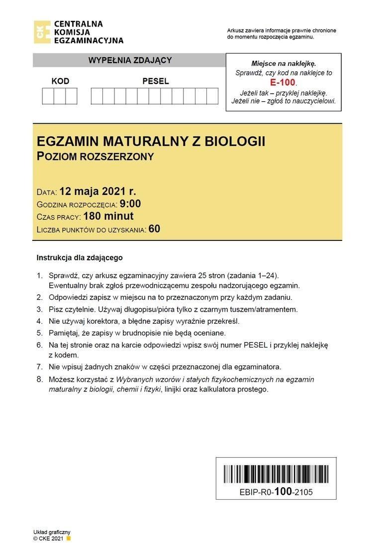 Matura BIOLOGIA 2021: Arkusze CKE, Pytania, Odpowiedzi, zadania, klucz odpowiedzi. Co było na egzaminie maturalnym z biologii? 12.05.2021
