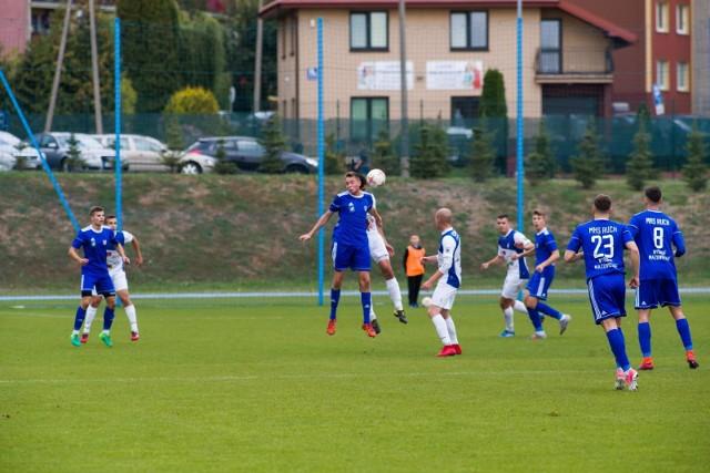 Ruch Wysokie Mazowieckie (na niebiesko) wygrał pierwszy sparing przed nowym sezonem.