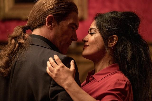 """Salma Hayek i Antonio Banderas na planie filmu """"Bodyguard i żona zawodowca"""" (oryg. """"The Hitman's Wife's Bodyguard"""")"""