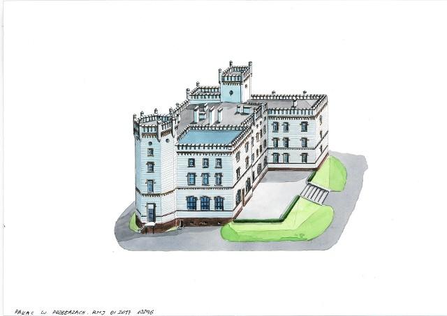 Pałac w Przełazach nieco przypomina ten w Mierzęcinie