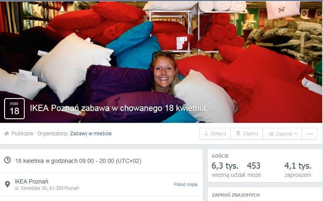 Zabawa w chowanego w Ikea Poznań. W akcji chce wziąć udział już ponad 6 tys. osób!