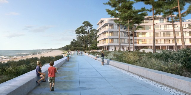 Mieleńska promenada obok DuneWizualizacja promenady przy apartamentowcu Dune. Dostępny dla wszystkich taras będzie naturalnie łączyć się z mieleńską promenadą i plażą