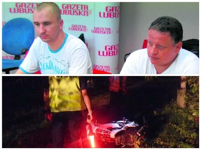 - Rzuciłem gdzieś kask i kluczyki... Reanimowałem Przemka... - opowiada Łukasz Puzio z Makro Team Zielona Góra (z lewej). O wypadku mówi nam też jego kolega Piotr Kononczuk.