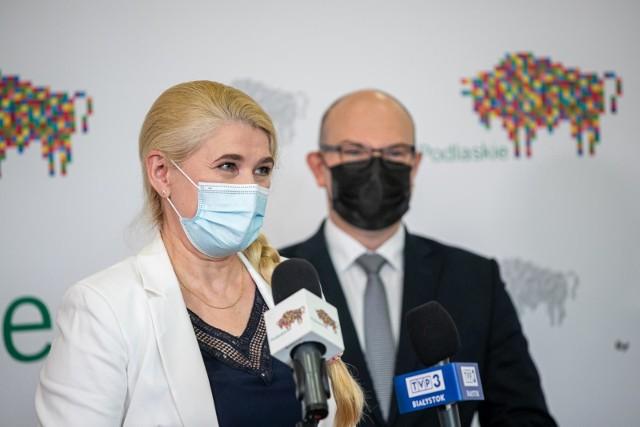Podpisanie umowy na dofinansowanie dla Szpitala Miejskiego im. PCK w Białymstoku (17.05.2021 r.).
