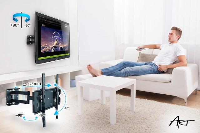 Telewizor zamontowany na ścianieNowoczesny telewizor najlepiej powiesić na ścianie. W ten sposób nie tylko oszczędzimy miejsce, ale i nasz salon zyska na wyglądzie. Powieszenie odbiornika telewizyjnego może być niemal tak łatwe, jak zawieszenie na ścianie obrazu. Pod warunkiem, że kupimy odpwiedni uchwyt RTV.