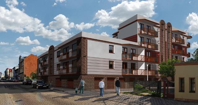 Budowa nowego bloku mieszkalnego w BydgoszczyBudynek będzie miał zróżnicowaną liczbę kondygnacji: od 3 (ze strony ulicy) do 5 (od podwórza).