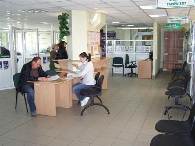 Na zdjęciu sala obsługi podatnika w Urzędzie Skarbowym w Starachowicach.