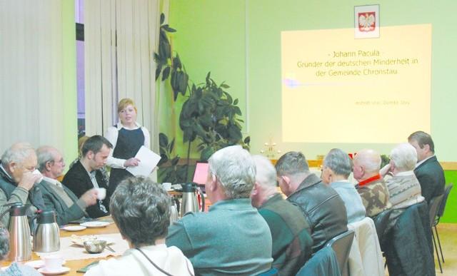 Postać nieżyjącego już założyciela MN w gminie Chrząstowice przypomniała Dorota Jaxy, studentka germanistyki na UO.