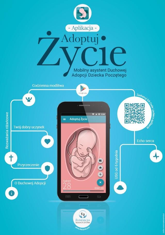 """Aplikacja Adoptuj życie Fundacji Małych Stópek: Adoptuj życie to mobilna aplikacja mająca szerzyć odpowiedzialne rodziecielstwo, a także kształtować świadomośc dotyczącą wartości ludzkiego życia, a inspiracją działania Fundacji Małych Stópek jest encyklika św. Papieża Jana Pawła II """"Evangelium vitae"""" - czytamy na stronie twórców aplikacji."""