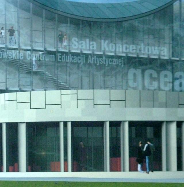 Tak ma wyglądać wejście do Centrum Edukacji Artystycznej. Całą makietę CEA można oglądać w magistracie.
