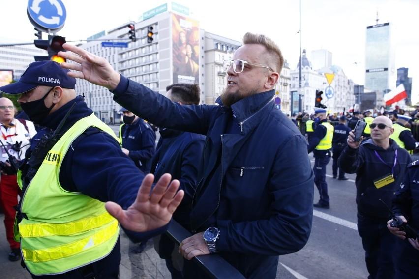 Warszawa: Strajk przedsiębiorców, interweniowała policja, 37 osób zatrzymanych [zdjęcia] [wideo] Protest zorganizował Paweł Tanajno