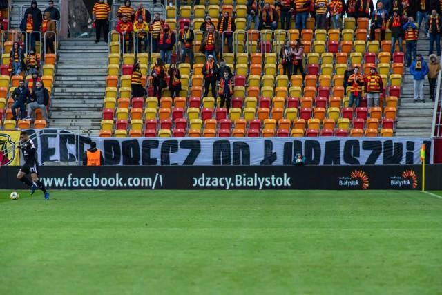 Taki transparent został wywieszony podczas sobotniego meczu Jagiellonia Białystok - Korona Kielce