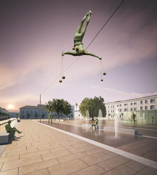 Stary Rynek w Częstochowie PROJEKTY: Na Starym Rynku będą fontanny, szklany pawilon, a nad rynkiem rzeźby balansujące Jerzego Kędziory