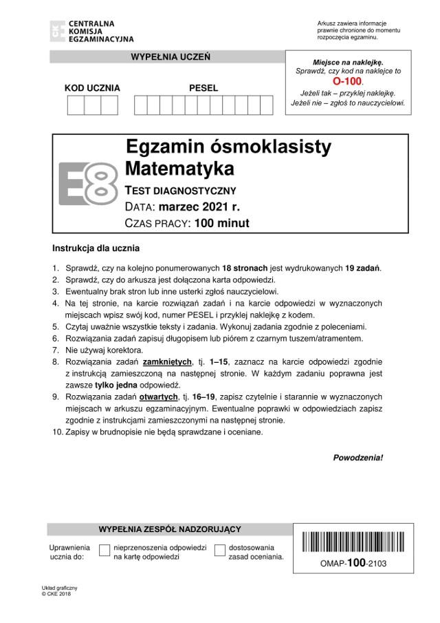 Próbny egzamin ósmoklasisty z MATEMATYKI CKE