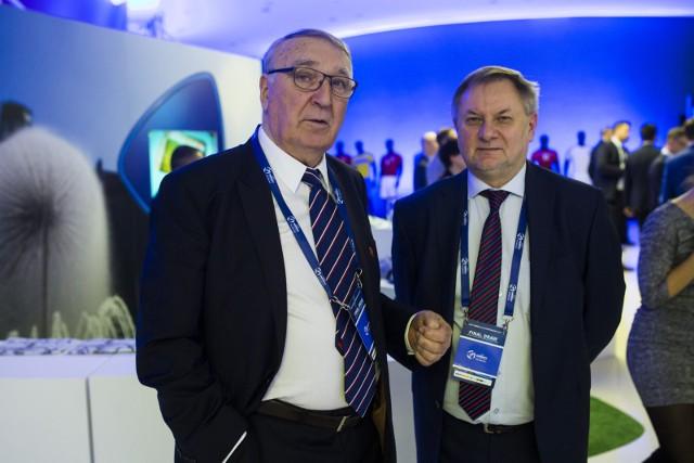 Wieloletni prezes MZPN (z lewej) i jego ewentualny następca, obecny wiceprezes MZPN Ryszard Kołtun