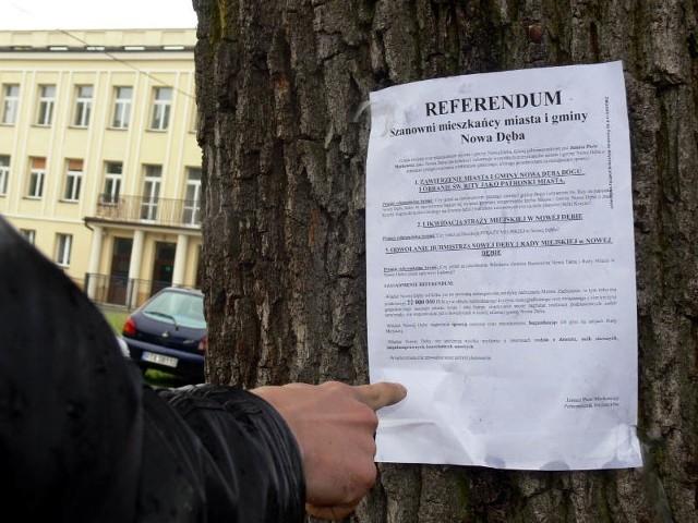 Przedmiotem referendum w Nowej Dębie będą trzy sprawy, w tym odwołanie burmistrza i radnych Nowej Dęby przed upływem kadencji.