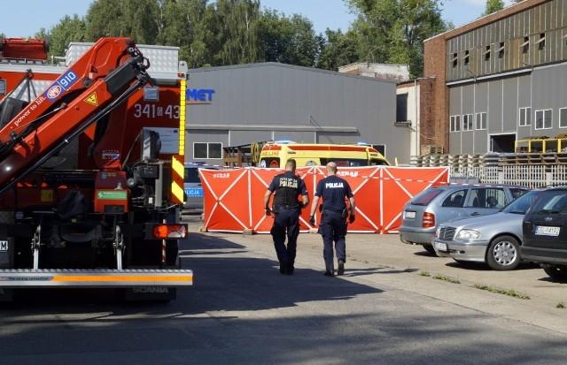 Śmiertelny wypadek  w firmie Konmet w Redzikowie