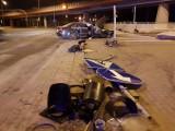 Policyjny pościg za pijanym kierowcą zakończony wypadkiem na ul. Rzgowskiej u zbiegu z al. Bartoszewskiego [zdjęcia]