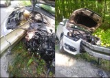 Wypadek w Jodłownie koło Przywidza. Samochód nadział się na barierę aż do bagażnika. Zdjęcia