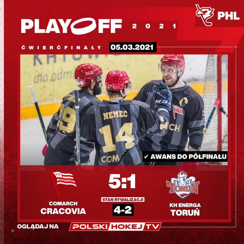 JKH GKS Jastrzębie i Comarch Cracovia w półfinale PHL