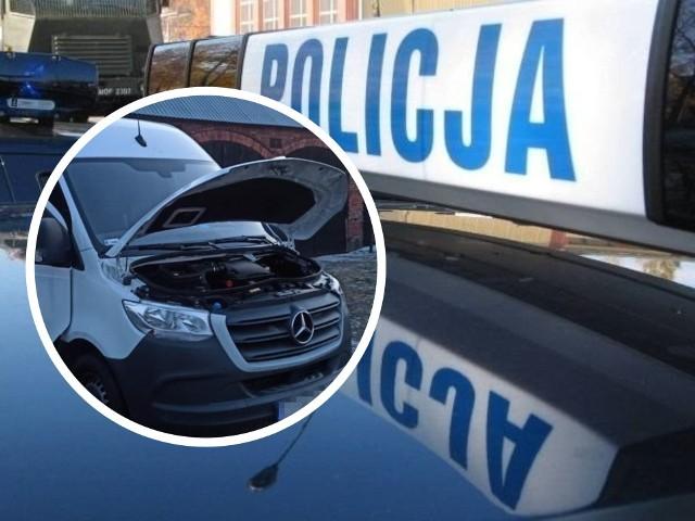 Zabezpieczony mercedes, który został skradziony z Poznania, trafił na policyjny parking.
