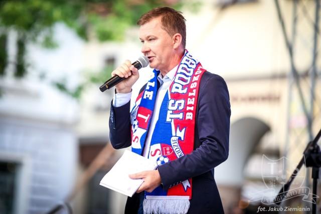 Prezes Bogdan Kłys już wkrótce może cieszyć się z awansu Podbeskidzia do PKO Ekstraklasy
