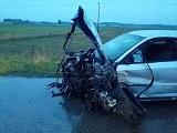 Pieńki. Na trasie Gródek - Michałowo zderzyły się trzy auta. Audi wypadło z zakrętu [ZDJĘCIA]