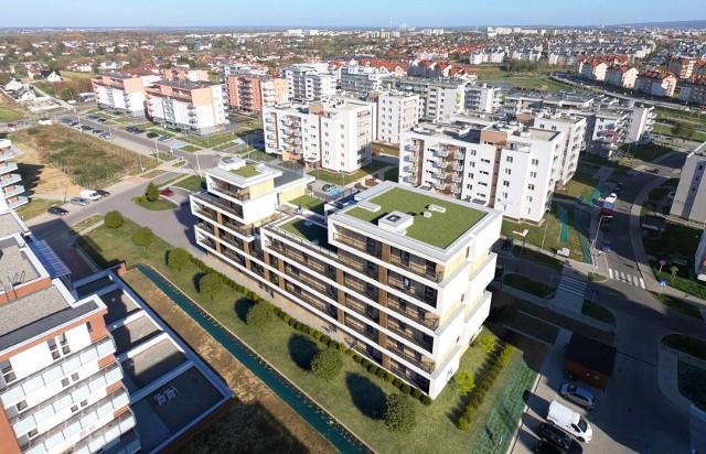 Na dachach budynków zaplanowano zielone tarasy oraz przestrzenie rekreacyjne dla mieszkańców.