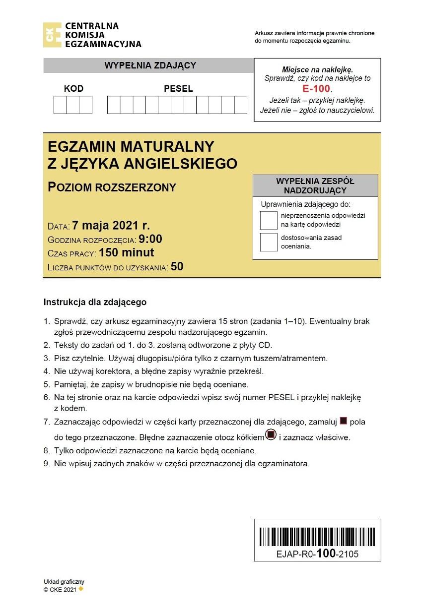 ODPOWIEDZI - matura angielski, poziom rozszerzony >>>...