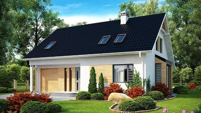 Dom jednorodzinny z poddaszem użytkowymDwuspadowy dach sprawi, że poddasze użytkowe będzie miało mniej skosów. Przez co będzie bardziej ustawne.