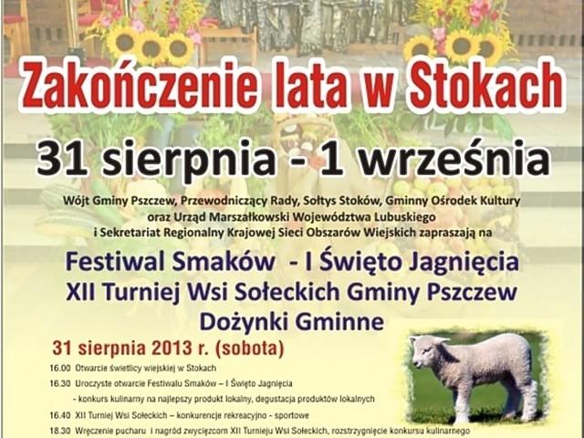 W sobotę w Stokach pod Pszczewem odbędzie się I Święto Jagnięcia, natomiast w niedzielę zostaną tam zorganizowane gminne dożynki.