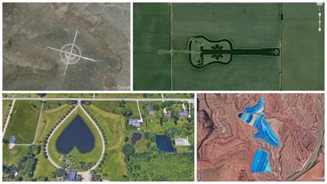 Krążące wokół Ziemi satelity pozwalają zajrzeć w miejsca, których oglądanie z wysokości jeszcze od niedawna było dane tylko grupie nielicznych analityków. Dziś naszą planetę z kosmosu obejrzeć może każdy. Wybraliśmy kilka najciekawszych miejsc, które po prostu trzeba zobaczyć.Żyjemy w czasach, w których trudno jest cokolwiek ukryć. Krążące wokół ziemi satelity sfotografowały już każdy centymetr kwadratowy naszej planety. Przed ich wścibskimi obiektywami nic się nie ukryje. Czasem na wykonanych z kosmosu zdjęciach widać zaskakujące rzeczy. To na przykład jezioro w kształcie serca, las w kształcie gitary, czy tajemnicze znaki na zboczu wzgórza. Z kosmosu zauważyć można również znaki towarowe znanych marek. W Stanach Zjednoczonych jest miejsce, gdzie z wysokości dostrzec można charakterystyczne logo coca-coli.Zobacz też:  TOP 15 miejsc w Lubuskiem widzianych z kosmosu [WIDEO] Satelity pozwalają też zajrzeć w miejsca, które jeszcze kilkadziesiąt lat temu były najpilniej strzeżoną tajemnicą. Tak jest ze słynną Strefą 51 na pustyni Nevada w Stanach Zjednoczonych. W czasach zimnej wojny było to miejsce, do którego postronne osoby nie mogły się nawet zbliżyć, a z kosmosu próbowali je podglądać jedynie Rosjanie. Dziś do Strefę 51 i znajdujące się tam lotnisko wojskowe zobaczyć może każdy.Gotowi? Wyruszamy na niezwykłą podróż po niezwykłych miejscach na naszej planecie. Zobacz też:  Atrakcje dla dzieci w Lubuskiem. Top 10 ciekawych miejsc [WIDEO, MAPA, ZDJĘCIA]