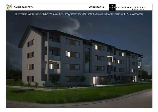 Wizualizacja budynku wielorodzinnego w Lusławicach, obecnie trwają roboty ziemne przy jego budowie