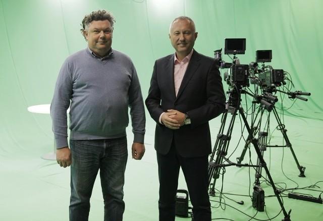 Prezydent Nowego Sącza Ludomir Handzel (z prawej) spotkał się z syndykiem Miasteczka Multimedialnego Witoldem Kadłuczką (z lewej)