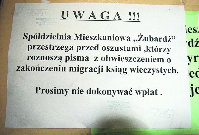 """Spółdzielnia Mieszkaniowa """"Żubardź"""" przestrzega przed oszustami."""