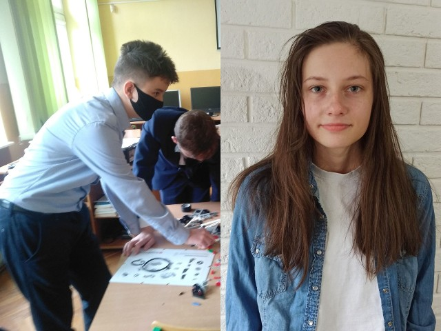 Laureat Adam Ciszewski z Kij (w jasnej koszuli) mówi, że niektóre pytania w konkursie były dość proste. Marta Łukasik, uczennica klasy ósmej Zespołu Szkół numer 1 w Pińczowie, laureatka z języka rosyjskiego.