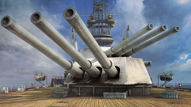 World of WarshipsWorld of Warships i to, co na pokładzie USS New Mexico najważniejsze, czyli dziobowe wieże artylerii głównej o kalibrze 356 mm