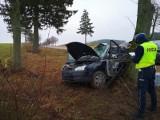 Podjanowszczyzna. Wypadek na DK 19. Ford przy wyprzedzaniu wypadł z trasy i wbił się w drzewo. Dwie osoby ranne