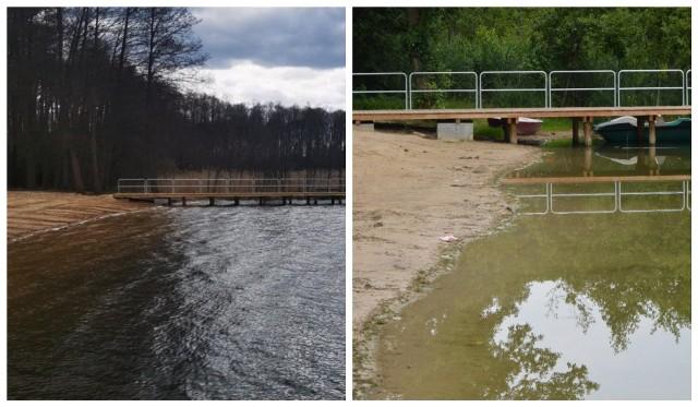 Porównanie stanu jeziora z wiosny i obecnego (z lipca).