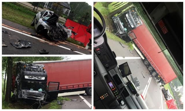 Wypadek w Pilikach na krajowej dziewiętnastce. Samochód osobowy zderzył się z ciężarówką