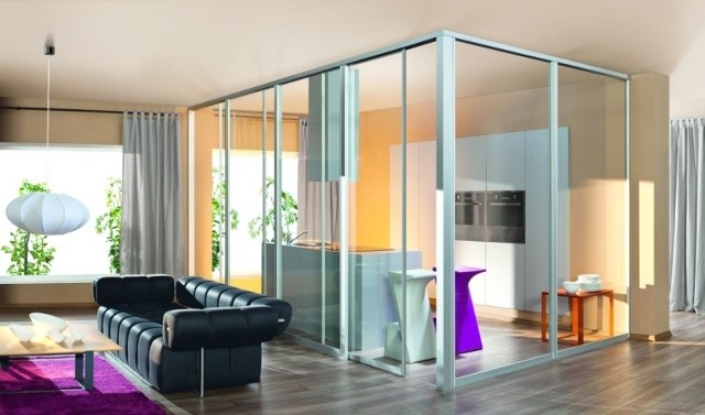 Ściana działowa z transparentnego szkłaWydzielenie kuchni z salonu