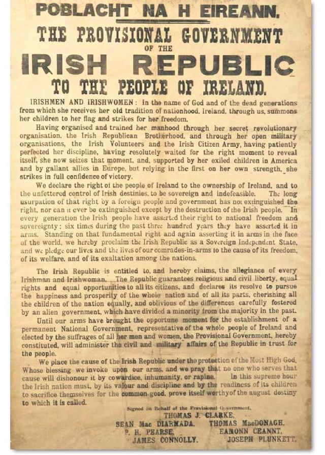 Angielskojęzyczny druk odezwy proklamującej powstanie Republiki Irlandzkiej