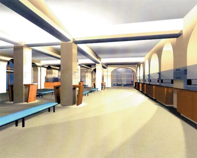 Tak będzie w przyszłości wyglądał hol główny. Po lewej stronie znajduje się wejście pocztę, po prawej ciąg okienek kasowych.