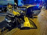 Grodzisk Wielkopolski: W środku nocy samochód osobowy uderzył w cysternę. Ranny kierowca trafił do szpitala