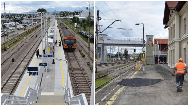 """Dworzec kolejowy w Nowym Targu. Po prawej wyremontowany peron 2 i 3. Po lewej zdezelowany peron 1 przy wyremontowanym gmachu samego dworca. Tak się robi inwestycje """"po polsku""""..."""