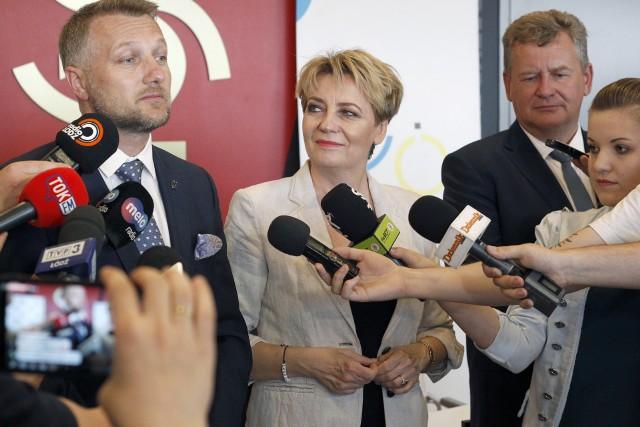 Prezydent Łodzi Hanna Zdanowska i prezes ŁKS Tomasz Salski