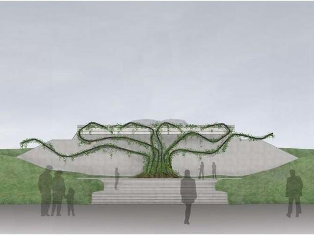 Wizualizacja drzewa życia, które będzie głównym elementem kopca papieskiego na Krywlanach