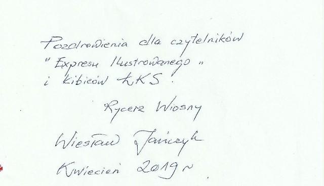 Wiesław Jańczyk ma obecnie 87 lat i napisał pozdrowienia dla naszych czytelników.