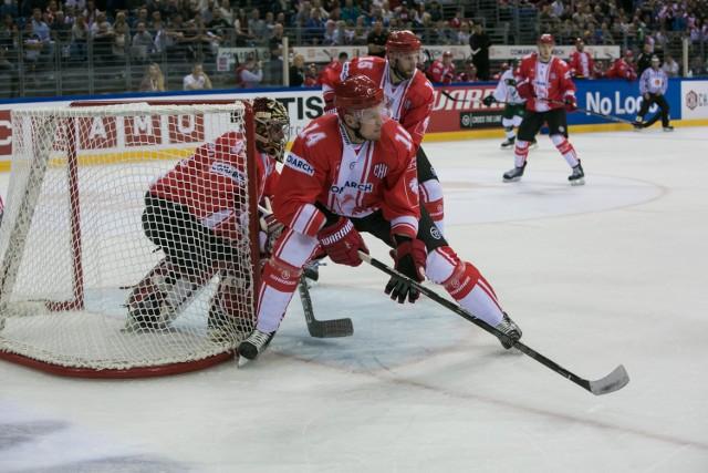 Hokeiści Comarch Cracovii podczas meczu Ligi Mistrzów w Tauron Arenie ze Spartą. W piątek rewanż w Pradze