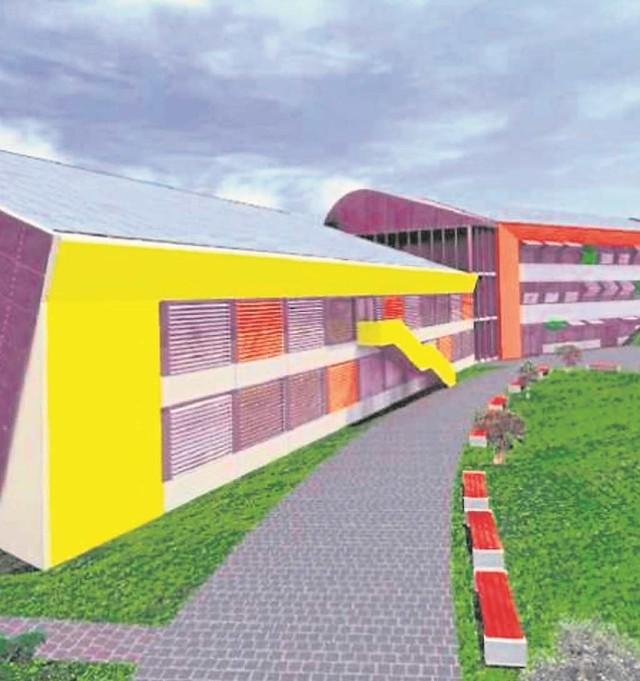 Taka pierwotnie miała być szkoła: z salą gimnastyczną (żółty budynek)